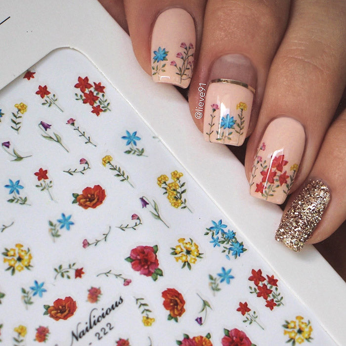 floral nail art with SoNailicious stickers 222
