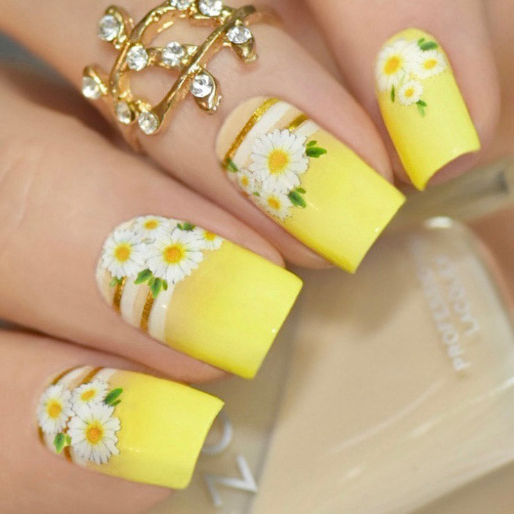 daisy nails with SoNailicious stickers