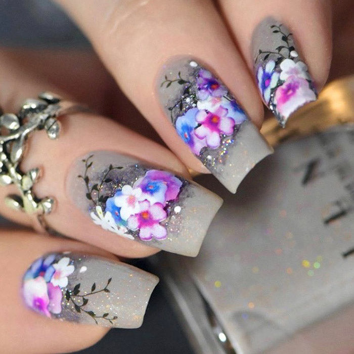 pansy nails with SoNailicious stickers