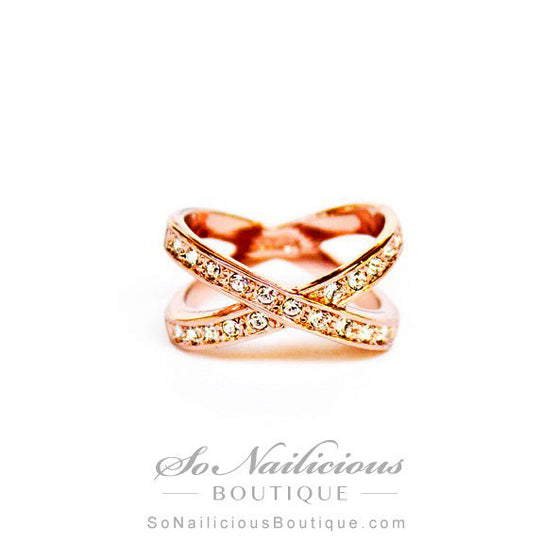Cross Gold Ring With Diamantes