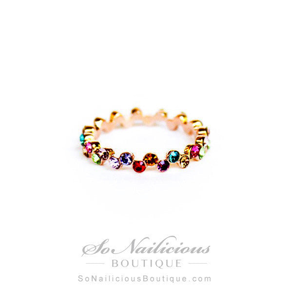 Precious Stones Thin 18K Gold Ring - ONLY 2 LEFT!