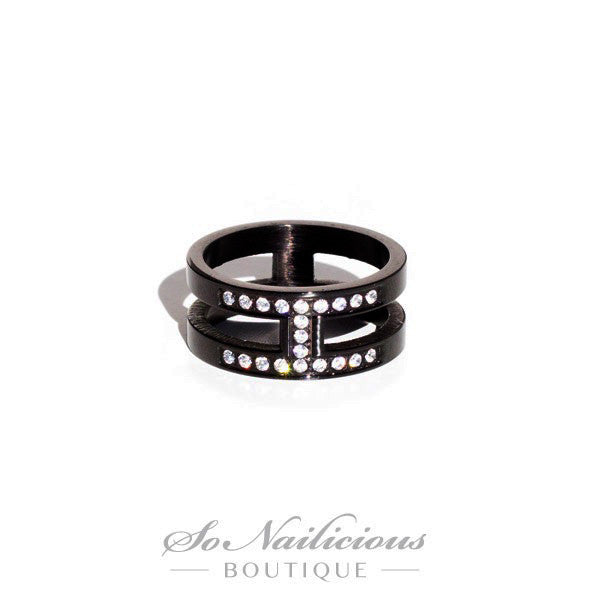 Gunmetal Knuckle Ring With Diamantes - ONLY 1 LEFT!