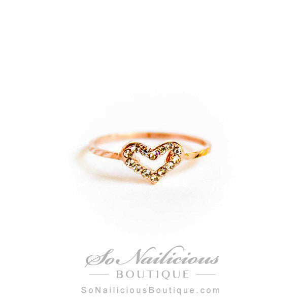 Love Heart Ring With Crystals