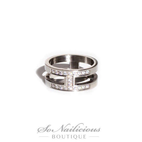 Platinum Knuckle Ring With Diamantes