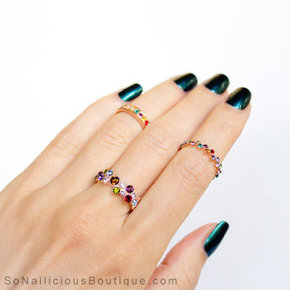 Precious Stones Thin 18K Gold Ring
