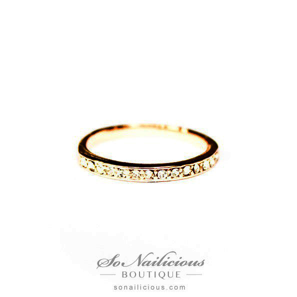 Delicate Rose Gold Ring With Diamantes - 20% OFF!