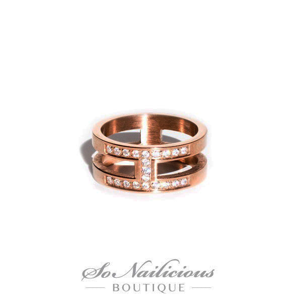 Rose Gold Knuckle Ring With Diamantes