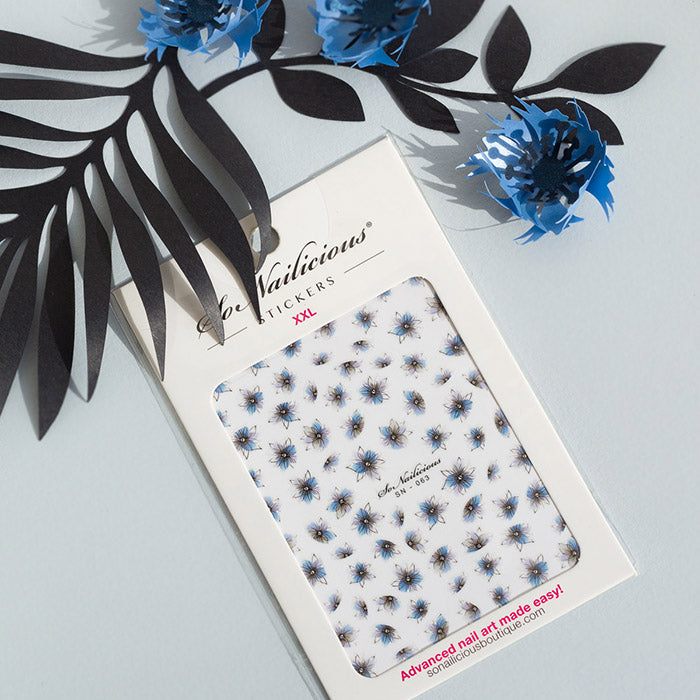 sonailicious blue flowers stickers