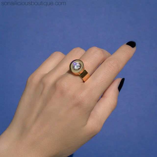 Cocktail Ring With Interchangeable Stones