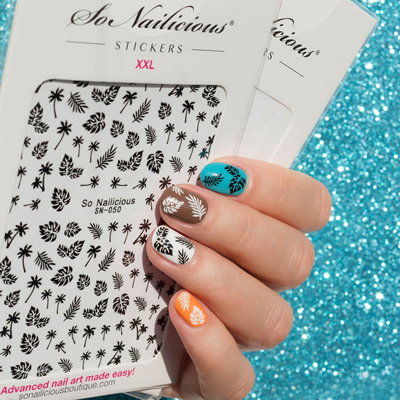Edgy Black and White Floral Nails Sticker Set