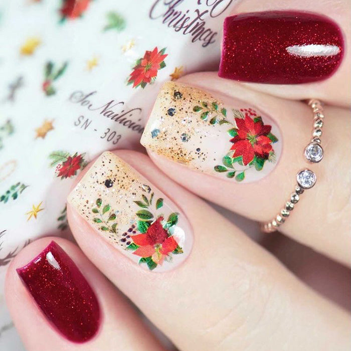 Christmas Nail Art with SoNailicious stickers 303XXL