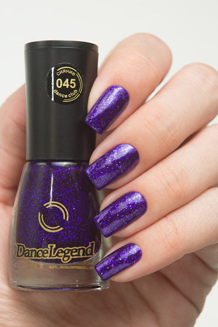 DANCE LEGEND 045 Purple Glitter Nails