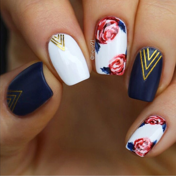Floral nails with Chevron nail stickers