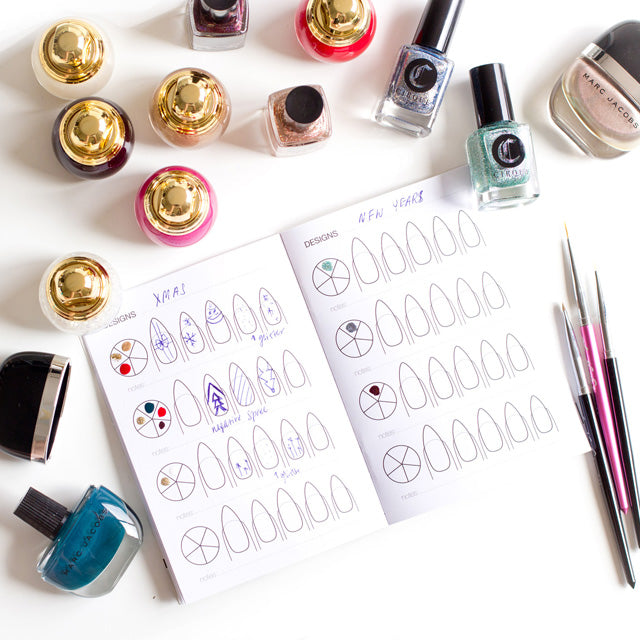 Sketching nail art in the Little Book of Nail Art