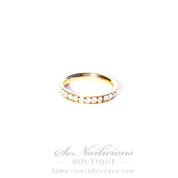 Minimalist Gold Ring With Diamantes - 20% OFF!