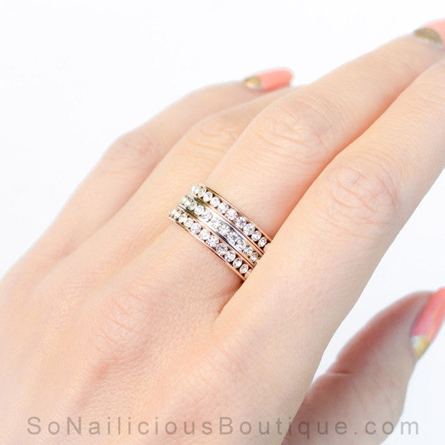 Minimalist Silver Ring With Crystals - 20% OFF!
