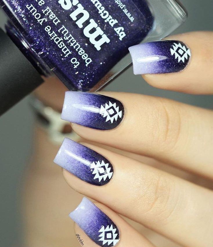 Purple nail design with white Geo Aztec nail stickers