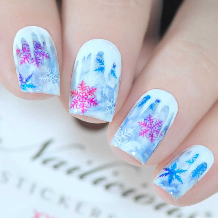 Snowflake nails with SoNailicious Stickers 305