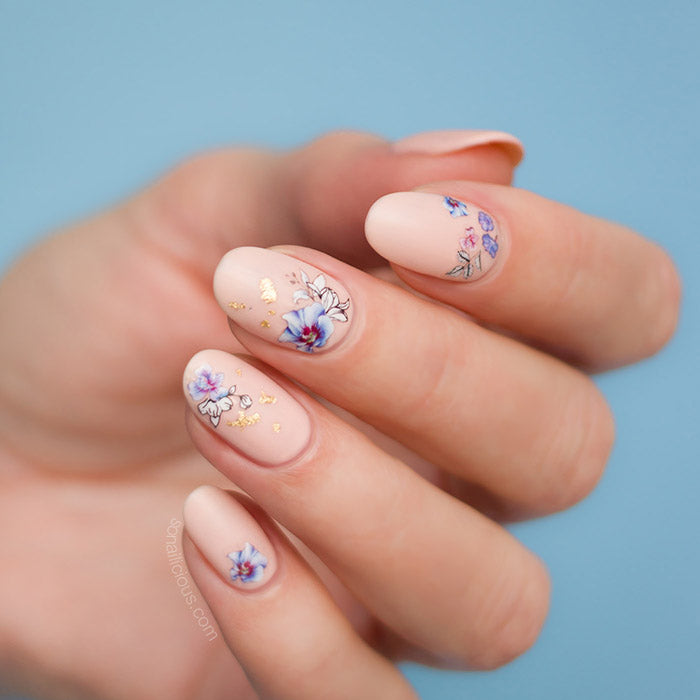 Watercolour Flower Nails with SoNailicious stickers