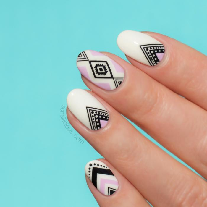 White aztec nails with Aztec nail stickers