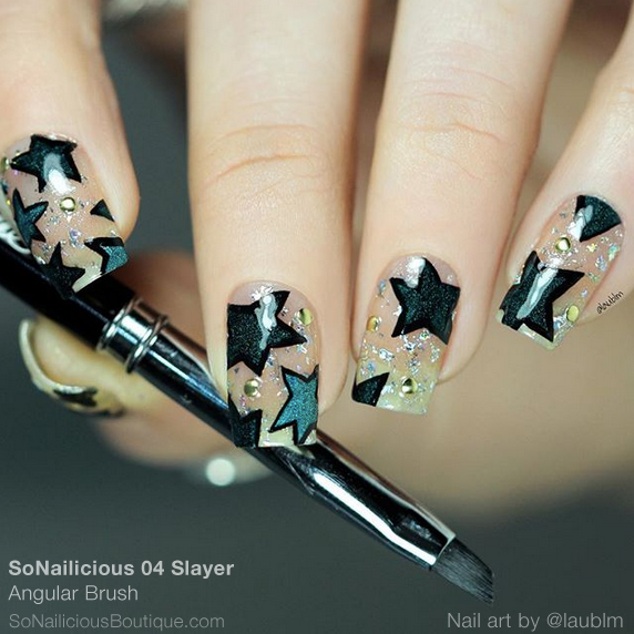 Starry nails with angular nail art brush