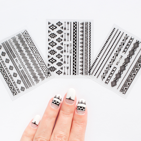 Aztec Nail Art Stickers - 3 Colours