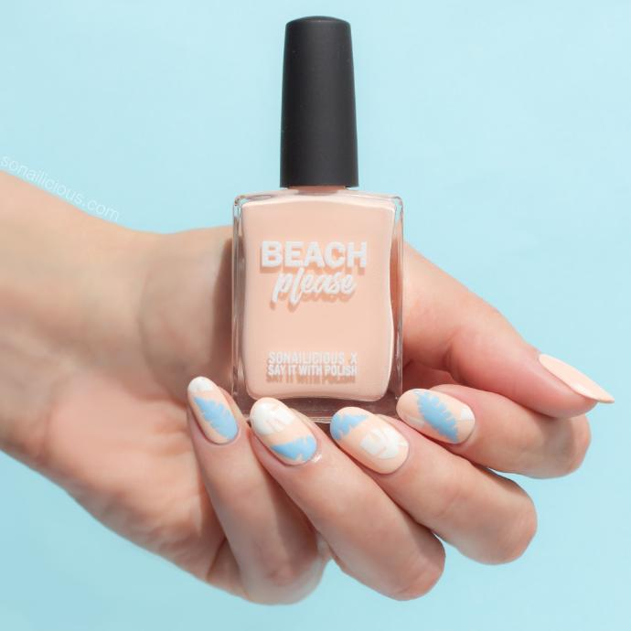 beach please peach nail design
