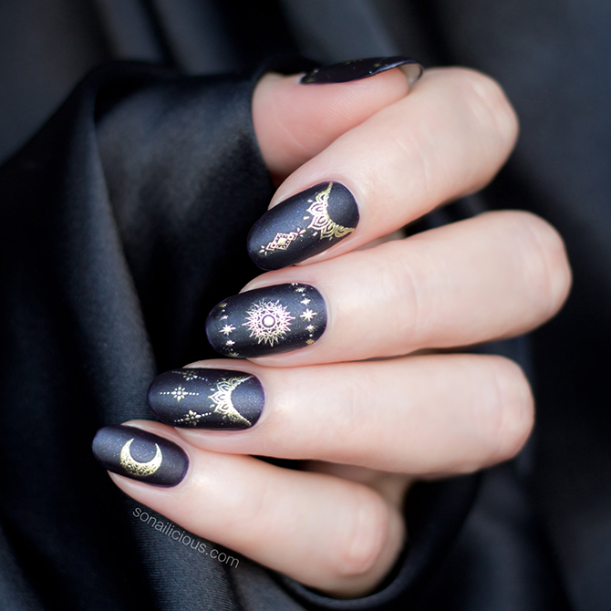 black and gold nails with Celestial nail stickers