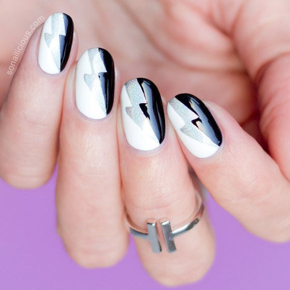 Lightning Bolt & Wave Nail Stickers