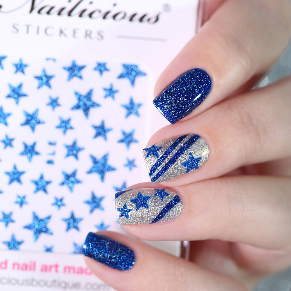 blue star nails with star stickers