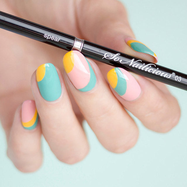 Abstract nail art with SoNailiciuos nail art brush