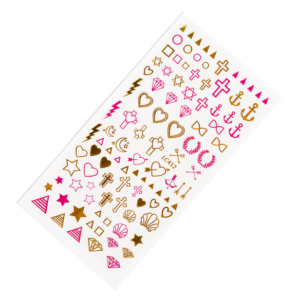 Pink and gold metallic nail stickers