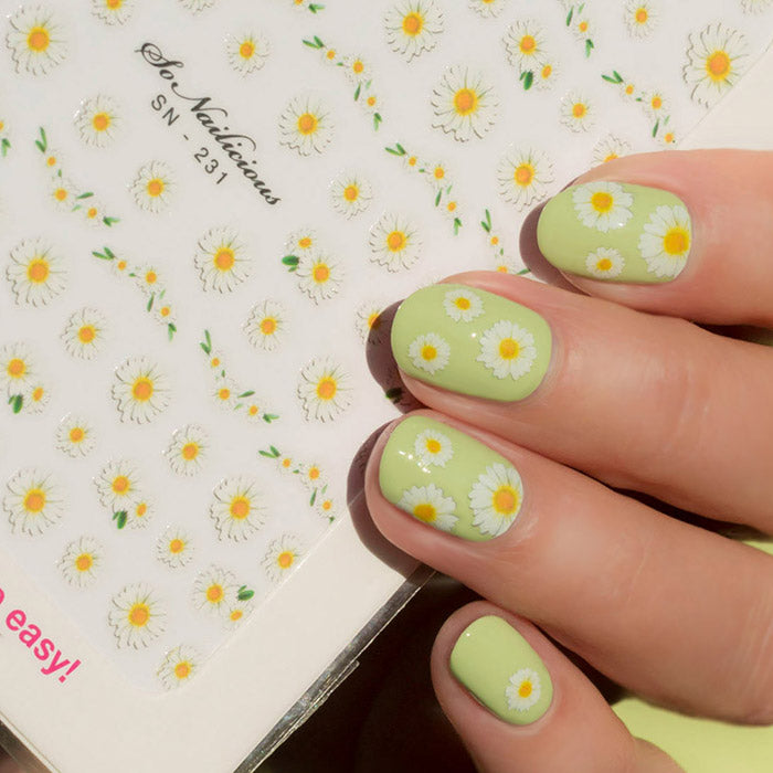 cute daisy nails with sonailicious stickers