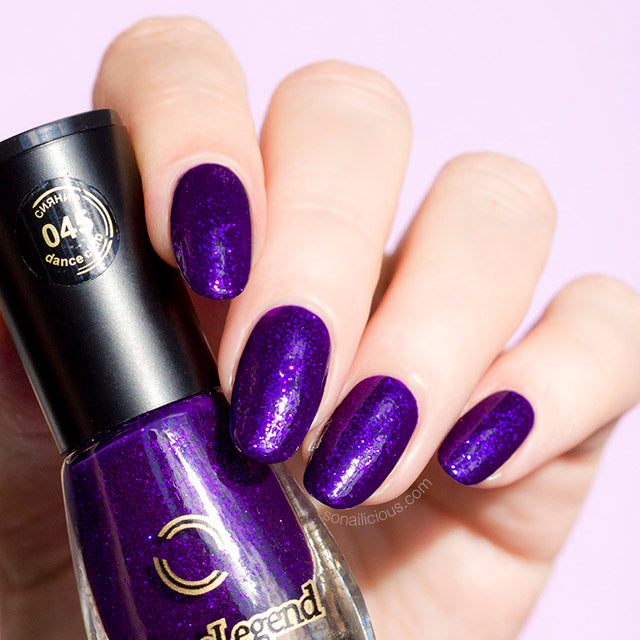 purple glitter nails, dance legend 045