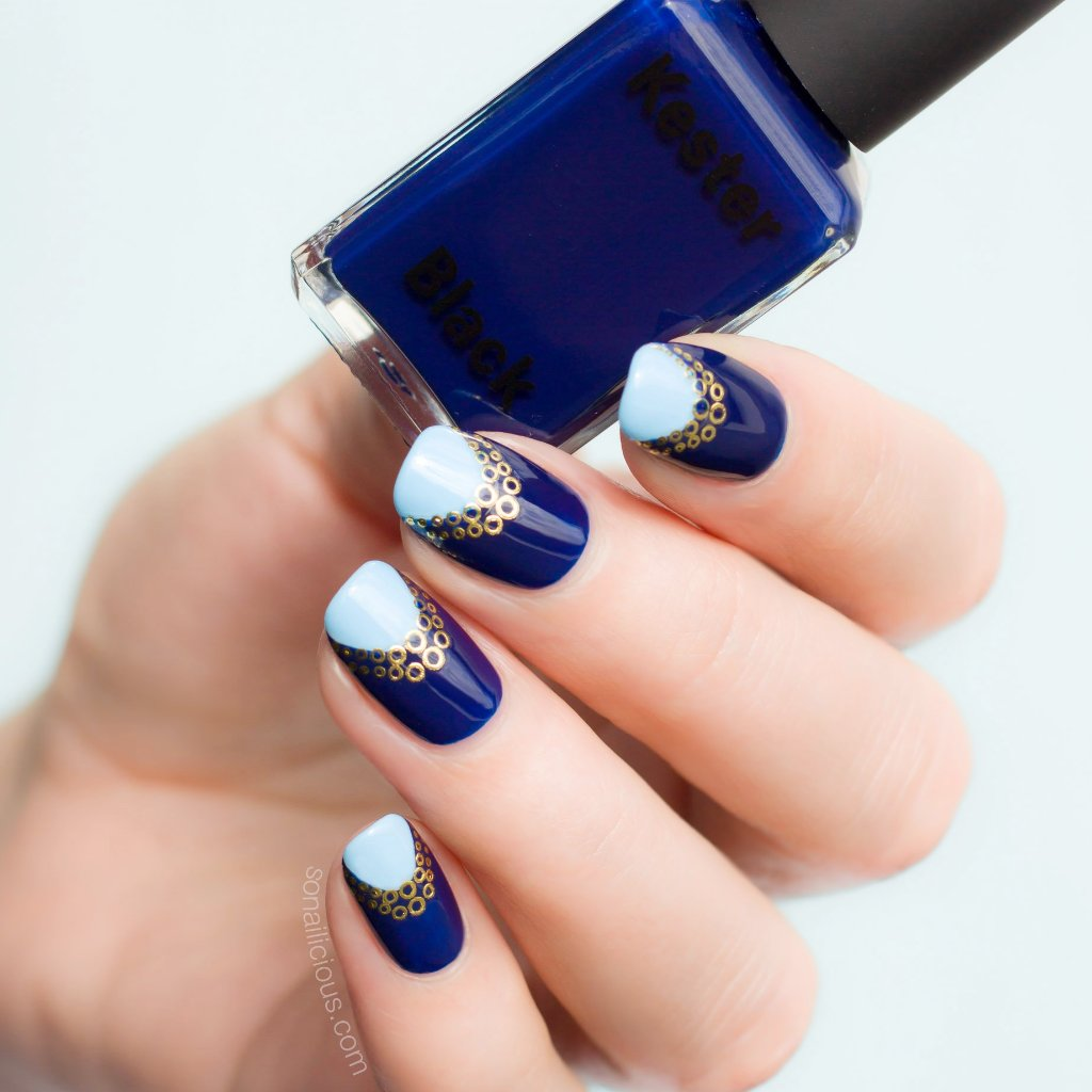 dark blue nails kester black bleu