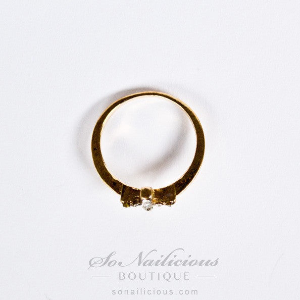 Delicate Gold Cross Ring With Crystlas - 20% OFF!