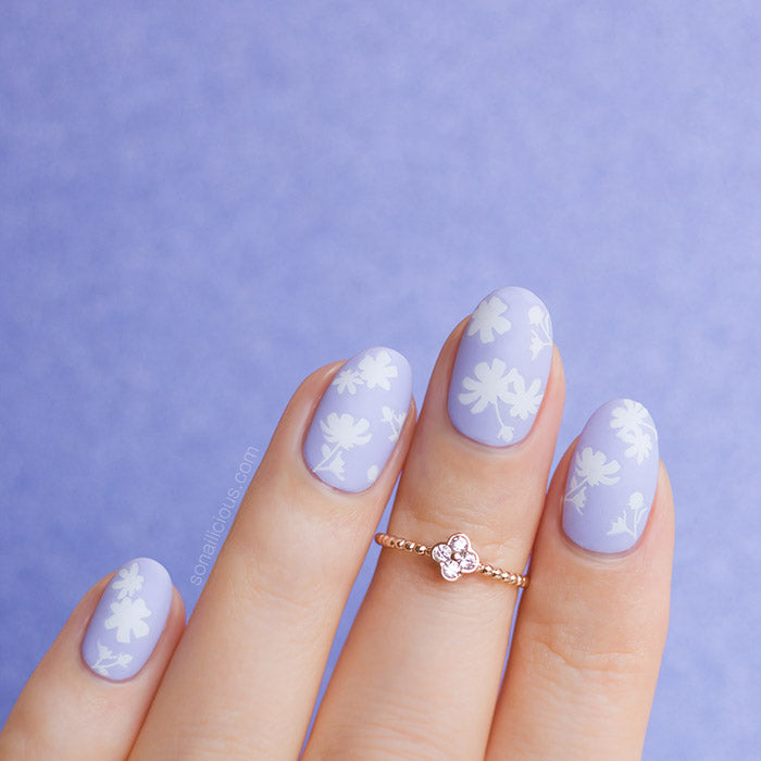 Purple and White Floral nails
