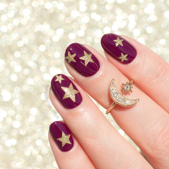 Glitter star nail stickers