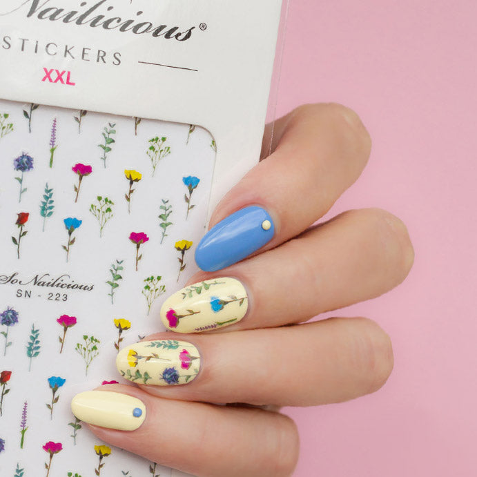 Floral nail art with Wildflower Nail Stickers