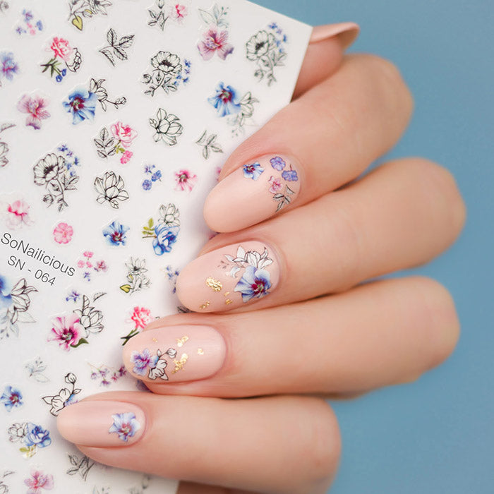 floral nails with sonailicious Watercolour Flower nail stickers