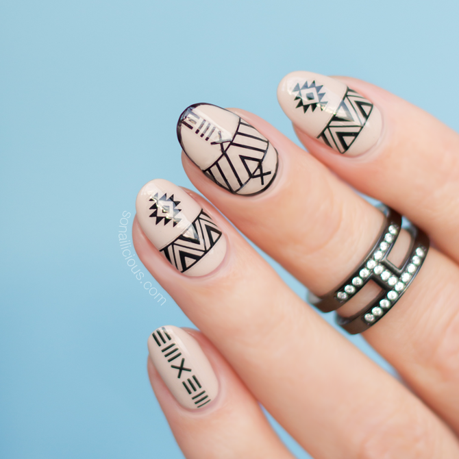 Aztec Nail Design with stickers