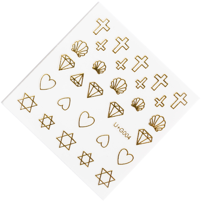 Diamond and cross gold nail stickers