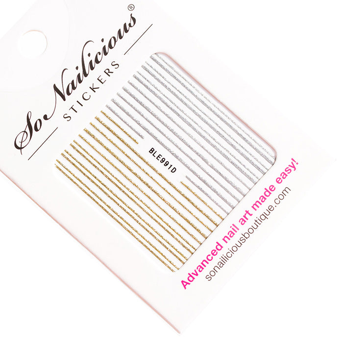 gold glitter stripes self adhesive nail stickers