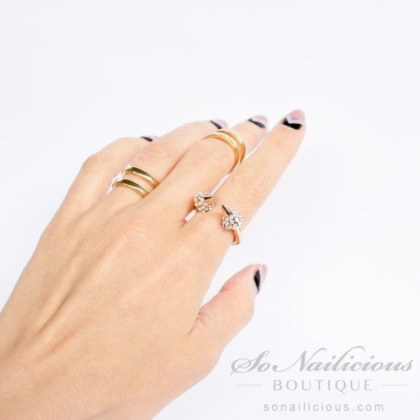 Gold Knuckle Rings - Set of 3
