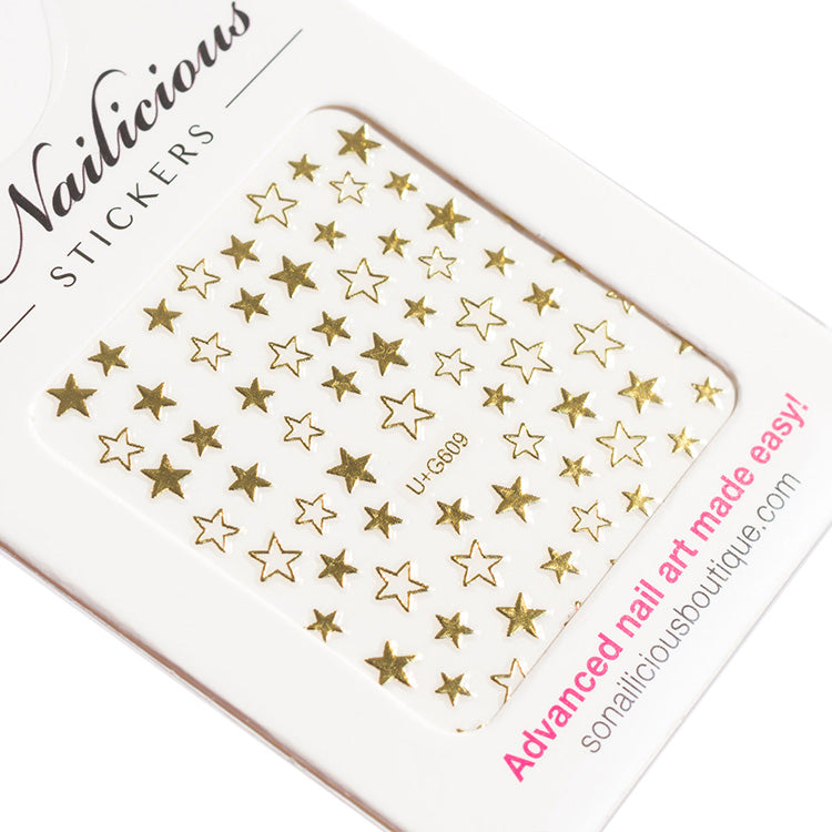 gold star nail stickers