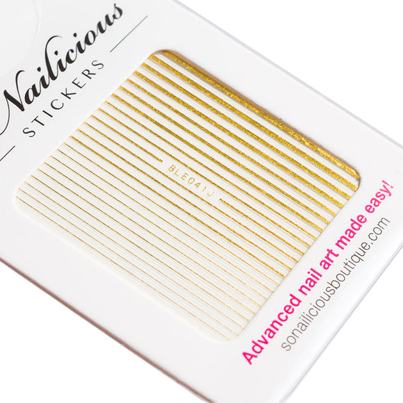 gold stripes self adhesive nail stickers