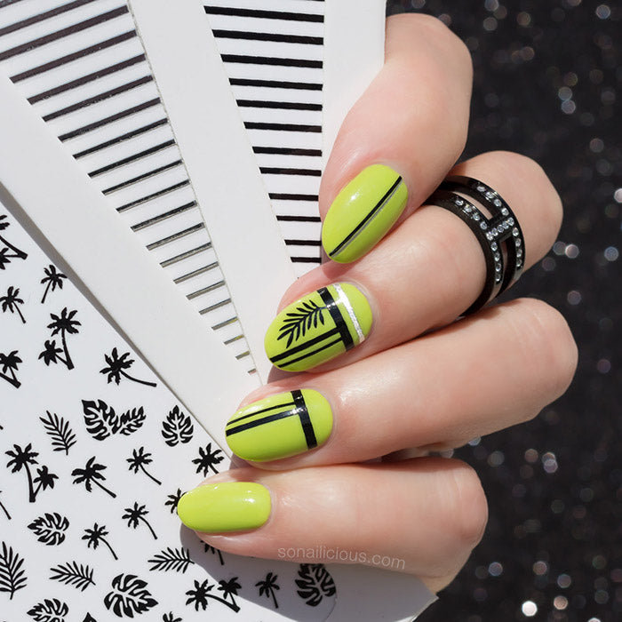 green and black palm leaf nails with SoNailicious Stickers
