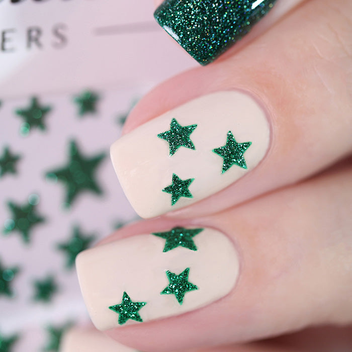 Glitter Star Nail Stickers - 9 Colours