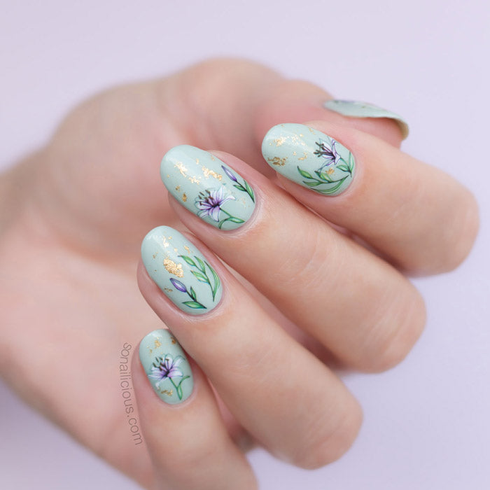 lily nails with SoNailicious stickers