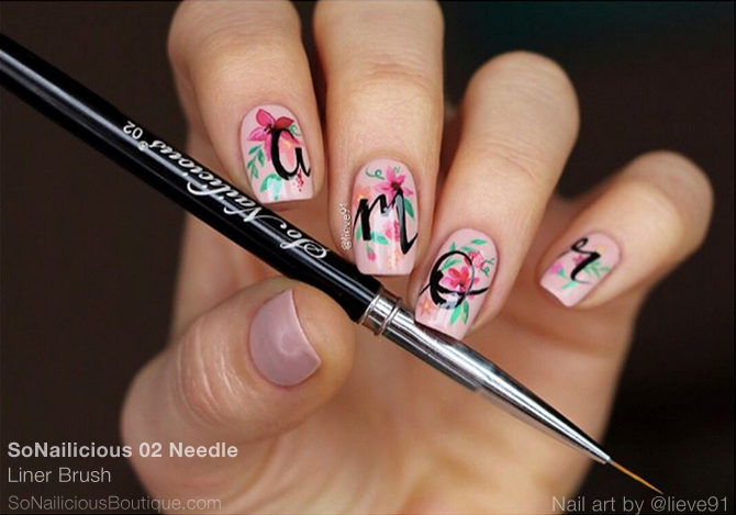 Floral nail art with liner nail art brush